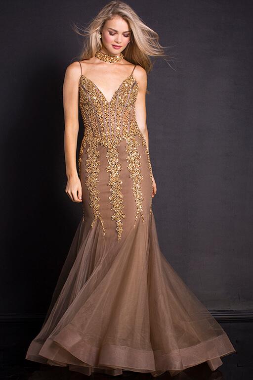 Jovani Embellished Mermaid Dress with Choker – 56032