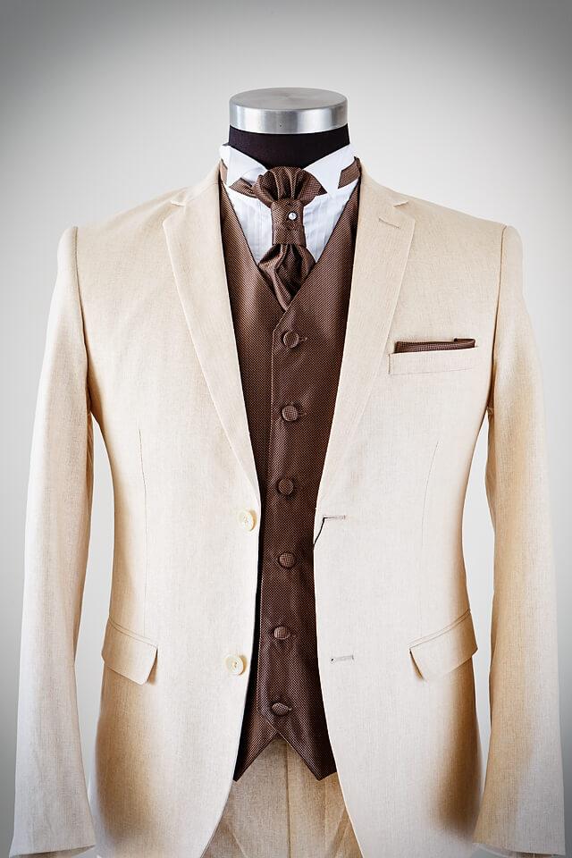 Beidge suite, brown shirt - Bridal & Tuxedo