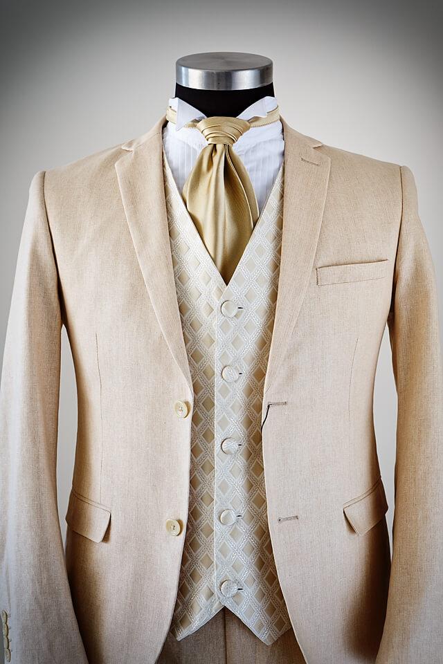 Beige Linen slim fit wedding suit 023