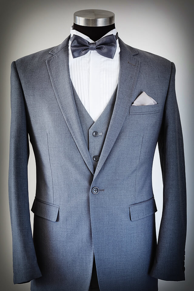 Grey Suit Slim Cut 002 Grey waistcoat with grey bowtie and wing collar shirt