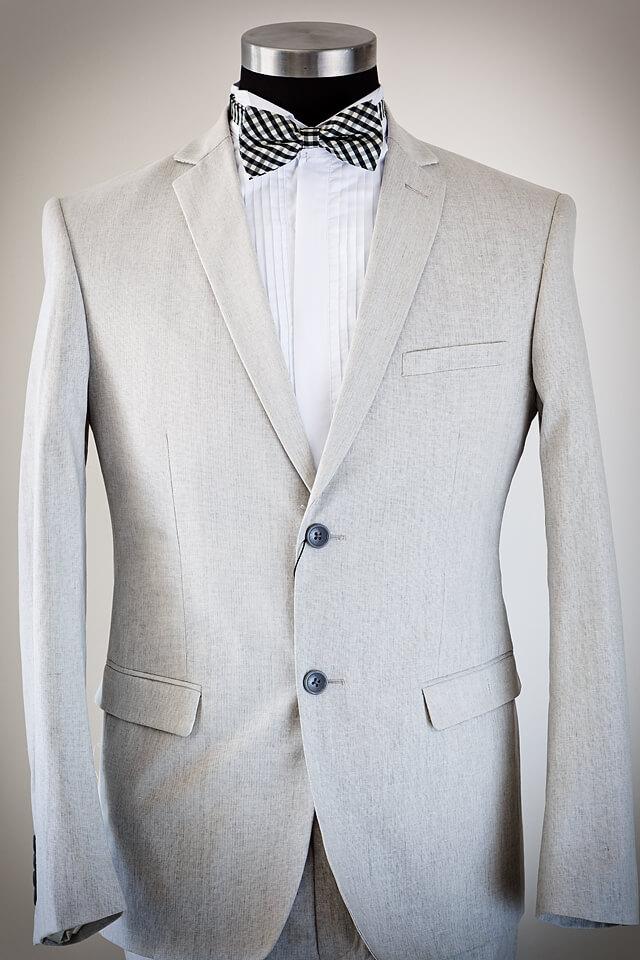 Grey linen slim fit suit 019