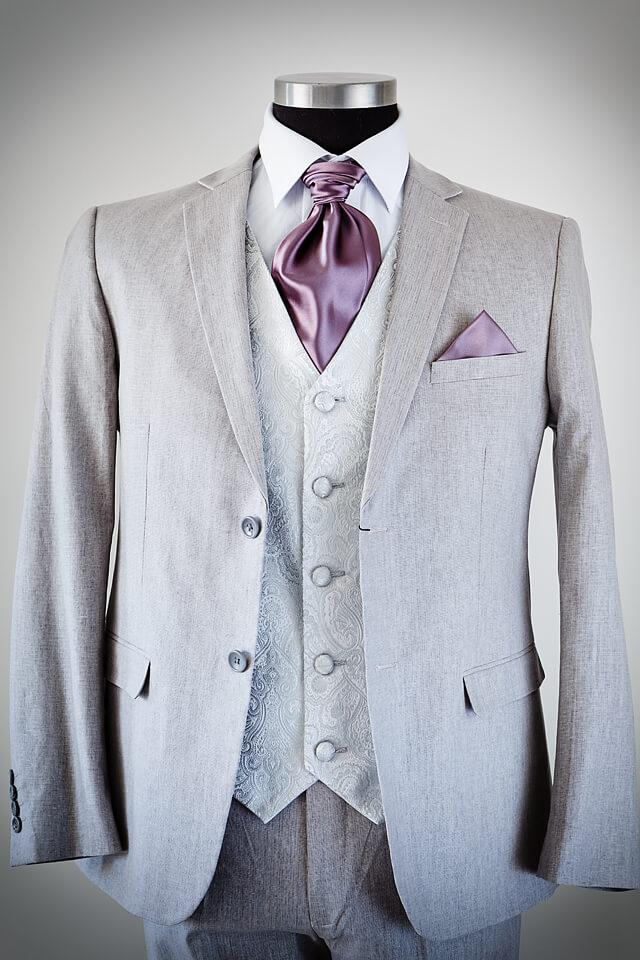 Grey linen slim fit wedding suit 021