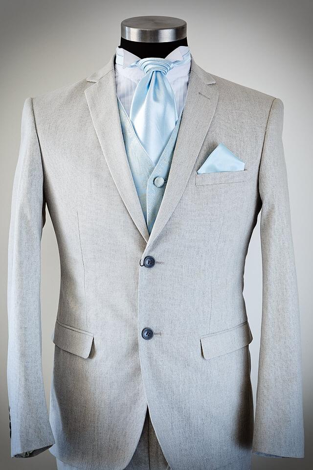 Grey linen slim fit wedding suit 024