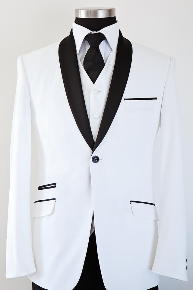 Shawl collar white slim cut tuxedo with black lapel 015