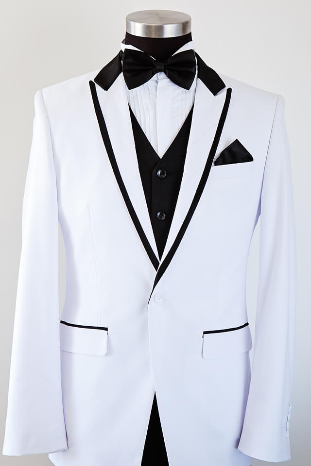 White Suit With Black Trim Bridal Tuxedo