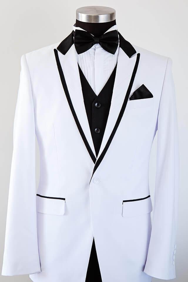 White slim cut suit black trim 017