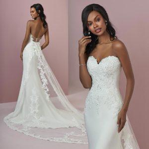 model wearing a stark white colour wedding dress example