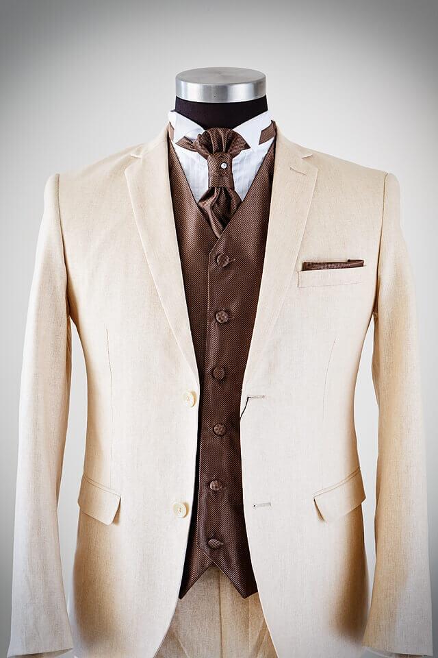 Beige Linen Suit for Groom