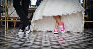 Fun shoes on wedding day