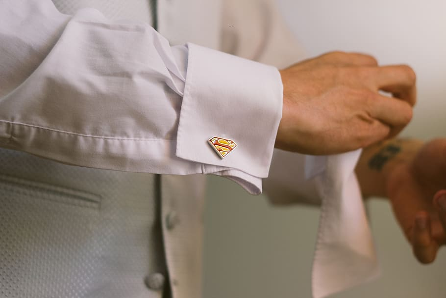 Superhero cuff links for groom