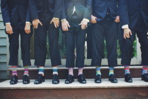 Colourful socks for Bridal party